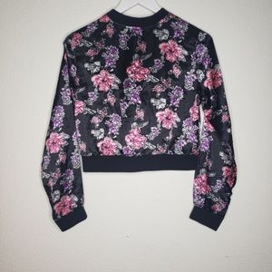 Justice Jackets & Coats - Justice Floral Satin Bomber Jacket